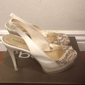 White snake platform heel